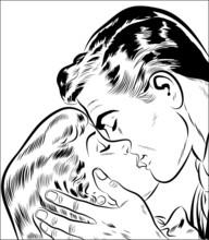 älskande par kyssar