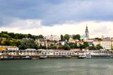 Belgrade cityscape on Danube poster