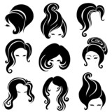 Big set of black hair styling for woman poster