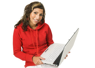 Woman holding with laptop