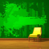 Yellow chair in green minimalist interior poster