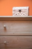 chest of drawers with wood box poster
