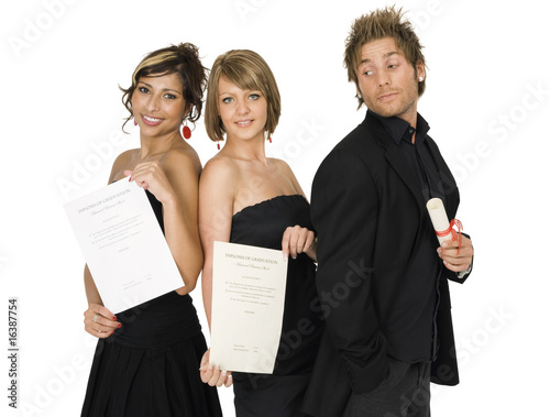 Friends holding certificate