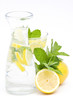 water, lemon, mint