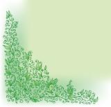 Refined Floral vignette. In Green Color. Eau-forte. poster