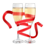 champagne glass  wrapped ribbon
