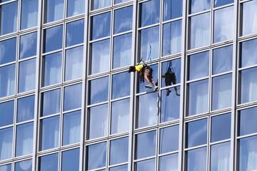 Fensterputzer auf dem Weg nach unten