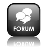 "Square vector ""FORUM"" button with reflection (black)"