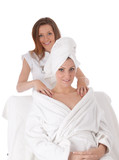 Studio shot of lovely lady receiving back massage