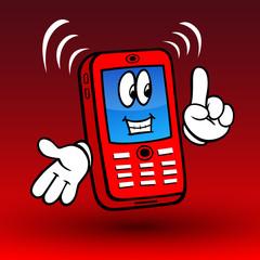 Comic-Handy, rot, mit Gesicht und Händen