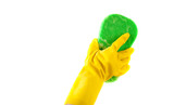Household CHores - A gloved hand washing with a sponge poster