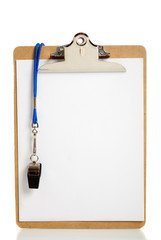Blank Clipboard and Coaches whistle