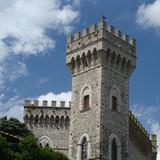 castle in tuscan town,  San Casciano dei Bagni poster