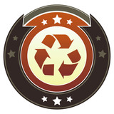 Recycle symbol on round autumn button