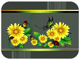 composicion floral en vector