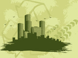 "Grungy ""green city"" banner"