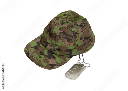Dog tags and military cap