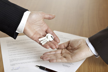 Schlüsselübergabe Haus - hand-over of keys real estate
