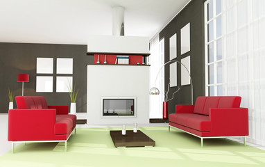contemporary living room with white and steel fireplace