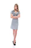 Young businesswoman, full length portrait, isolated on white poster