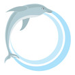 Circle frame with dolphin. Vector illustration.