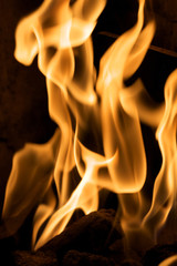 Closeup of flames on black background
