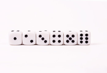 Dices in the line from one to six