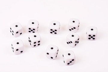 Ten dices on isolated background / Craps only one