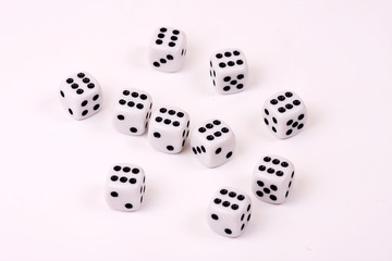 Ten dices on isolated background / Craps