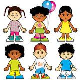 Fototapety Six cute girls and boys characters