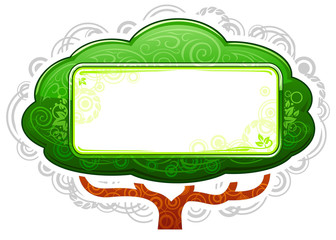 Green Tree Placard with Banner in ecology style