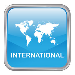"Square vector ""INTERNATIONAL"" button (blue)"
