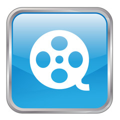 "Square vector ""CINEMA"" button (blue)"