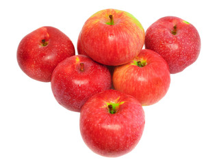 Heap of ripe, red apples. Isolated on white.