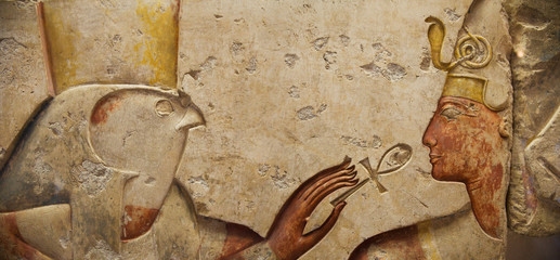 Egyptian relief: Horus and the Pharaoh