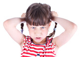Upset little girl with pigtails poster