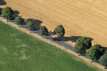 Route de campagne,  vue aérienne