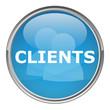 """Circular """"CLIENTS"""" button (vector; blue)"""