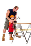 Father teaching son construction poster
