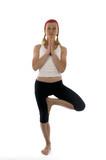 yoga spine twisting vikram pose illustration fitness trainer tea poster