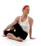 yoga spine twisting illustration pose poster