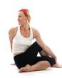 yoga spine twisting vikram pose illustration fitness trainer tea