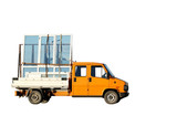 Truck delivering double-glazed winows poster