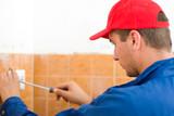 Repairman working poster