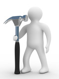 repairman with the tool on a white background. 3D image poster