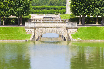 Bridge and pond from Villandry chateau, France