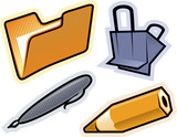 Vector objects of stationery poster