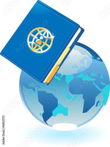 Notebook and blue globe concept
