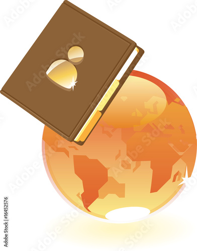 Notebook and orange globe