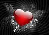 Fototapety Herz mit Flügel und Ornamente